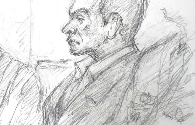 A courtroom sketch of Carlos Ghosn by Masato Yamashita