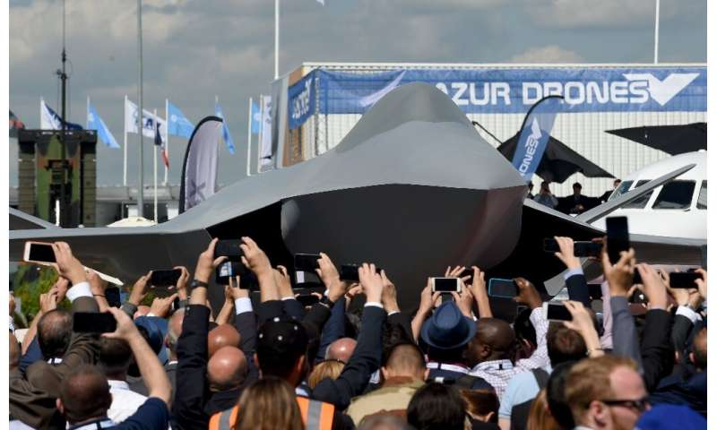 A full-scale model of the Future Combat Air System (FCAS) jet, which France and Germany hope to have in service by 2040, was unv