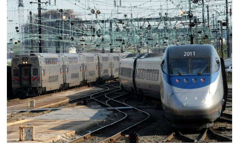 A higher-speed Acela commute train pulls out of Washington's Union Staton