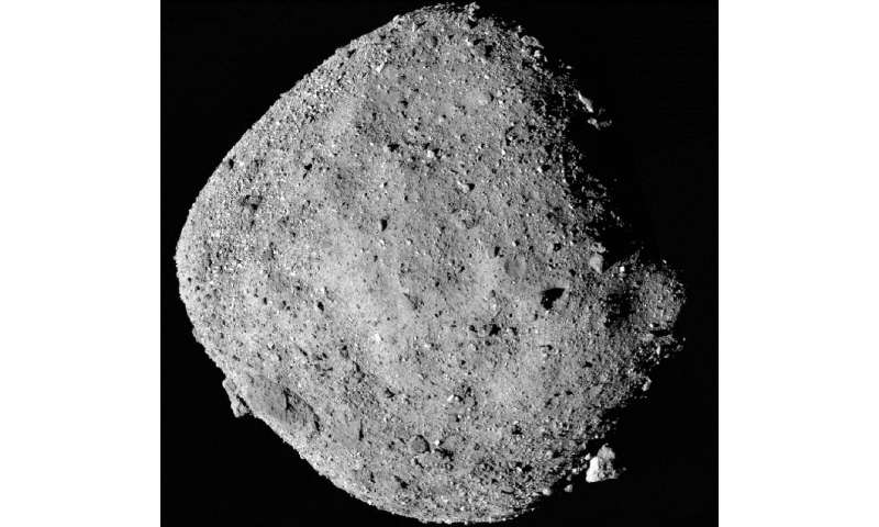 A Nasamosaic image of asteroid Bennu, composed of 12 PolyCam images