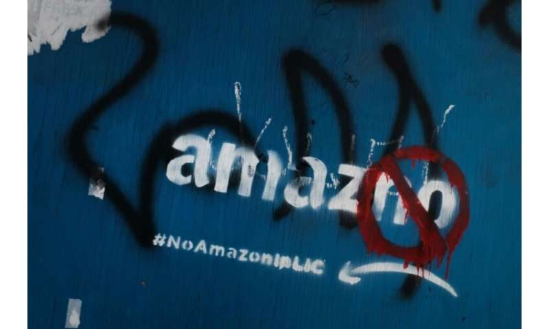 Anti-Amazon graffiti is seen in a Long Island City neighborhood initially selected for a new headquarters for the technology gia