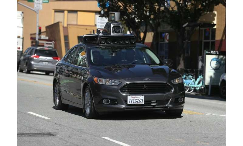 An Uber self-driving car drives down San Francisco's 5th Street in March, 2017