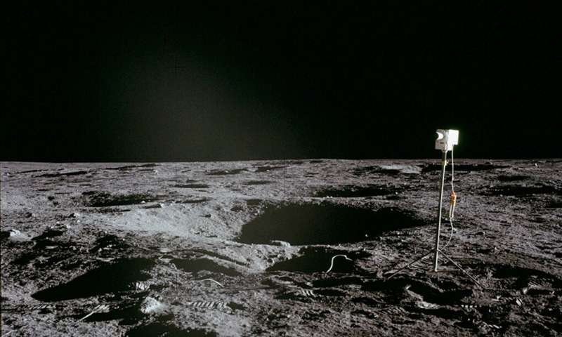 A photo obtained from NASA shows a camera left by the Apollo 12 crew during their landing on the moon in 1969