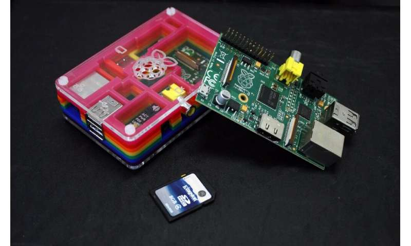 A Raspberry Pi, two of which are pictured, is a credit-card sized device sold for about $30 that plugs into home televisions and