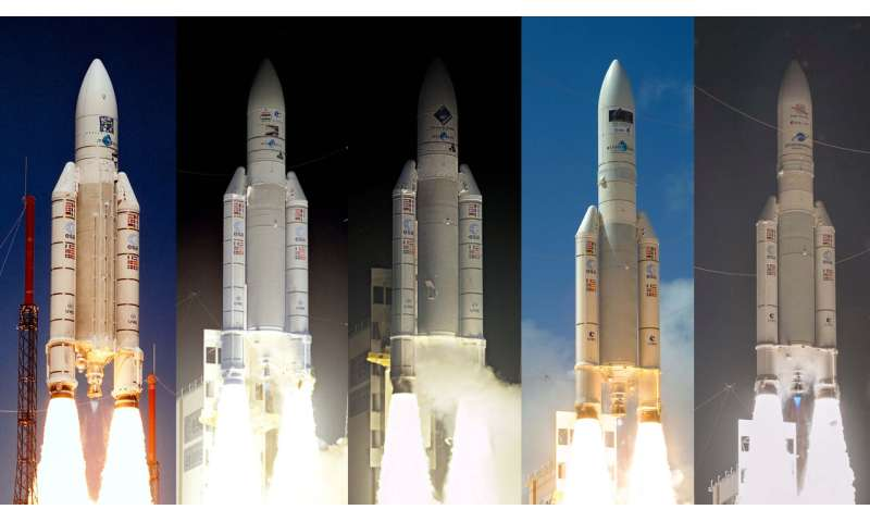 A brief history of Ariane 5 launches with science missions onboard