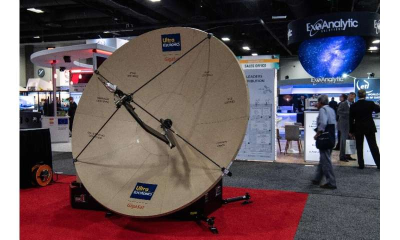 A satellite dish at the Ultra Electronics stand during the Satellite 2019 conference