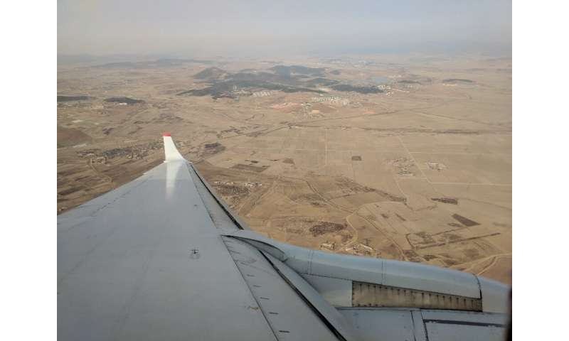 As seen from an airplane, much of North Korea's countryside is dry and parched as the country suffers from what state media says