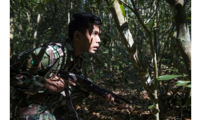 A Thai forest ranger approaches a target during a mock raid on 'poachers' in Khao Yai National Park, as part of training to tack