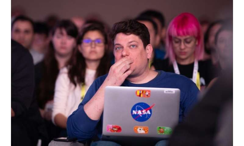 Audience members react during a keynote session at the annual Game Developers Conference at Moscone Center in San Francisco, Cal