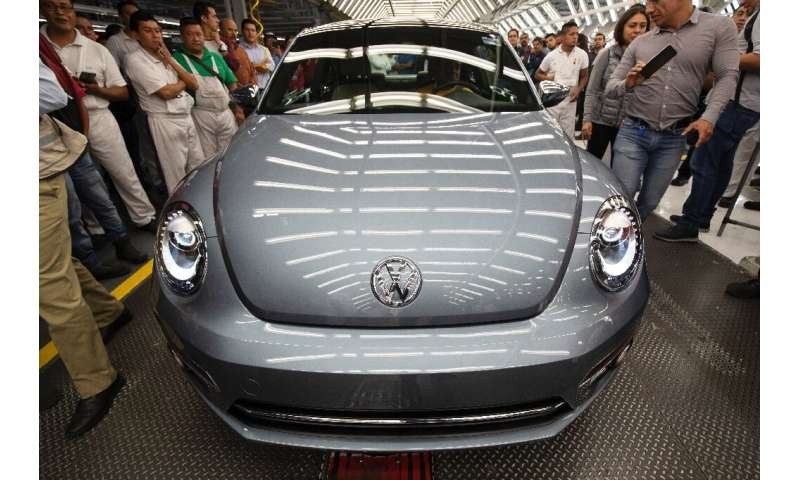 """A Volkswagen """"Beetle"""", the final edition of the iconic car, is pictured inside the factory in Puebla, Puebla State, Me"""