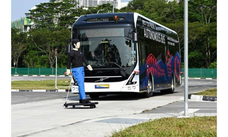 A Volvo AB 7300 electric autonomous bus drives on the track of Centre of Excellence for Testing & Research of Autonomous Veh