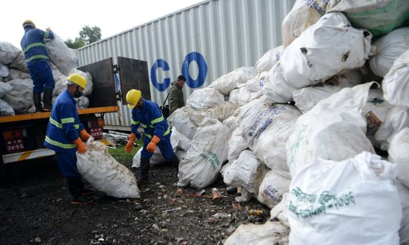 Bags of trash were flown by army helicopter to the capital or trucked down along winding mountain roads and handed over to a loc
