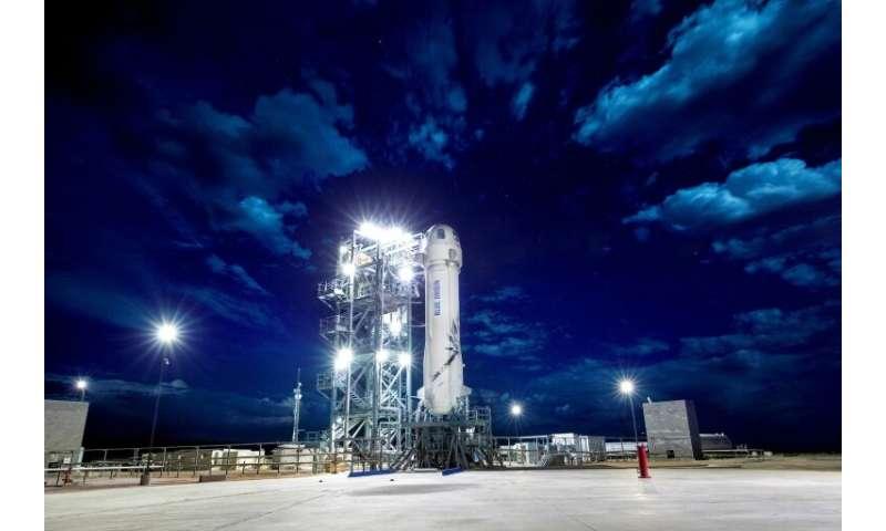 Blue Origin's New Shepard rocket, on April 29, 2018 in Texas