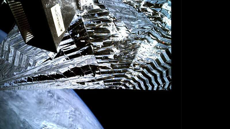 Camera captures innovative drag sail deployment in space
