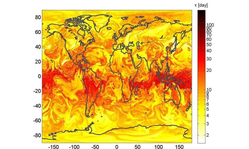 Chaos theory produces map for predicting paths of particles emitted into the atmosphere