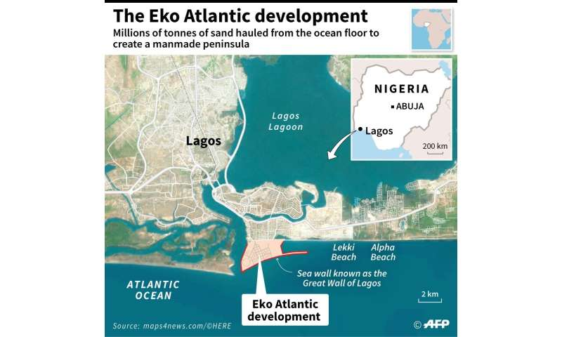 Close-up map of Lagos, Nigeria, locating the Eko Atlantic construction project on an artificial area of land on the coast
