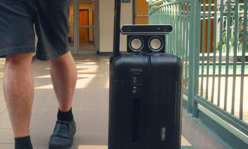 Collision-detecting suitcase, wayfinding app help blind people navigate airports