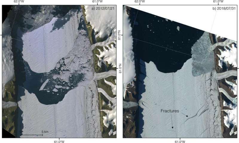 Cracks herald the calving of a large iceberg from Petermann Glacier