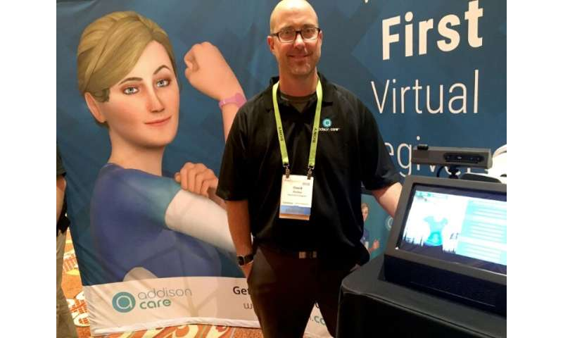David Keeley of SameDay Security debuts the Addison Virtual Caregiver system at the Consumer Electronics Show in Las Vegas, a di