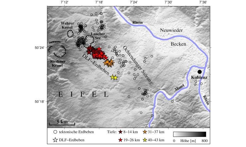 Deep low-frequency earthquakes indicate migration of magmatic fluids beneath Laacher See
