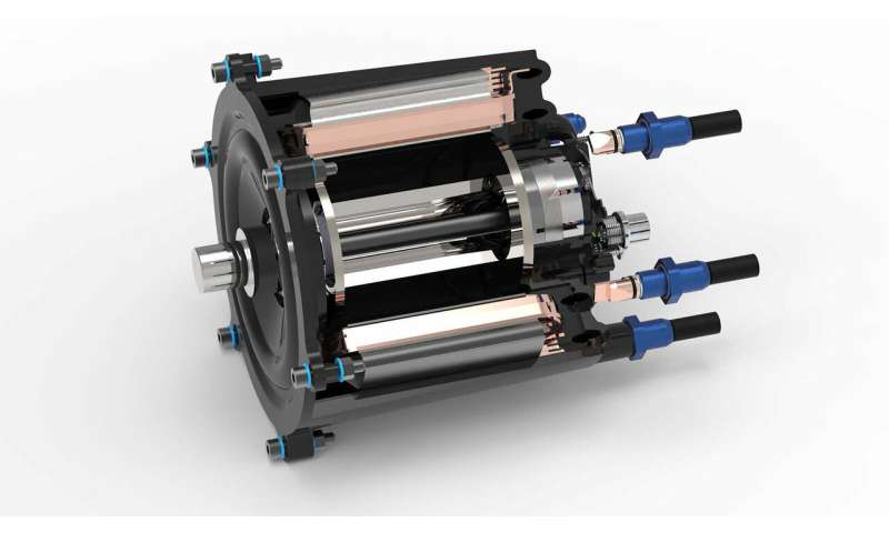 Directly cooled electric motor made from polymer materials