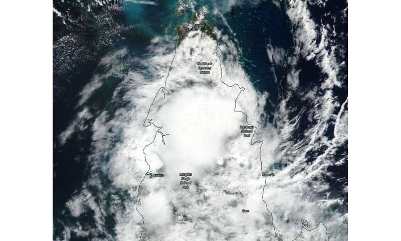 Ex-Tropical Cyclone Ann moving over Australia's Cape York Peninsula