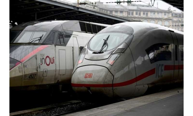 French (left) and German high-speed trains at Gare de l'Est station in Paris