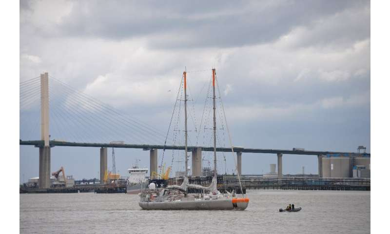 French research vessel Tara sails on the Thames river, leaving London and heading to Hamburg for the second leg of Tara's Microp