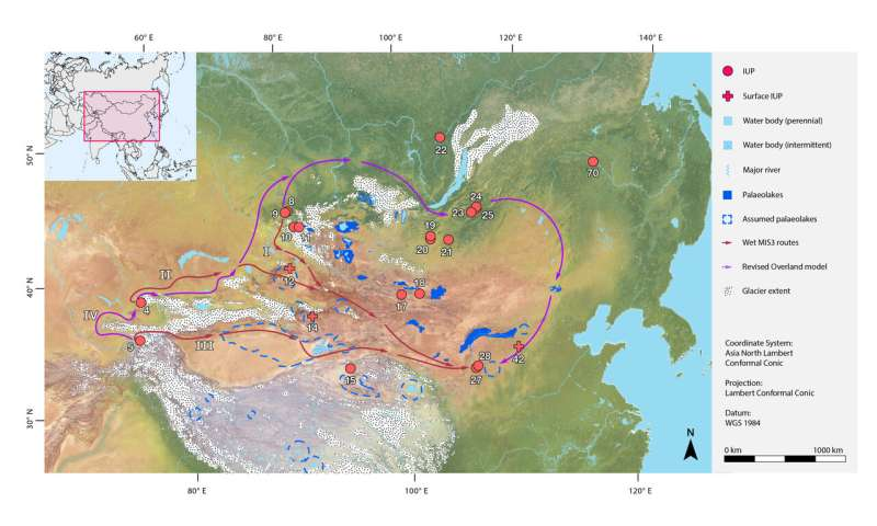 Humans used northern migration routes to reach eastern Asia