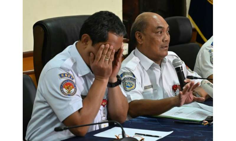 Indonesian air safety officials Soerjanto Tjahjono (R), and Nurcahyo briefed journalists in Jakarta during a March 21, 2019 news