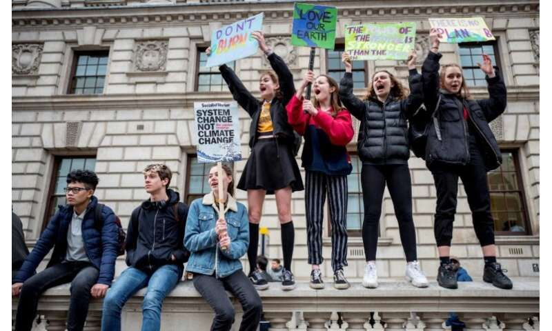 In London, thousands of excitable youngsters skipped classes to march on Downing Street