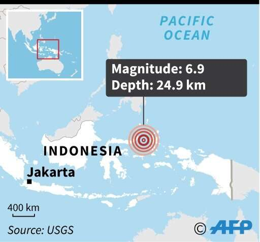 Map locating the 6.9 magnitude earthquake which struck Indonesia