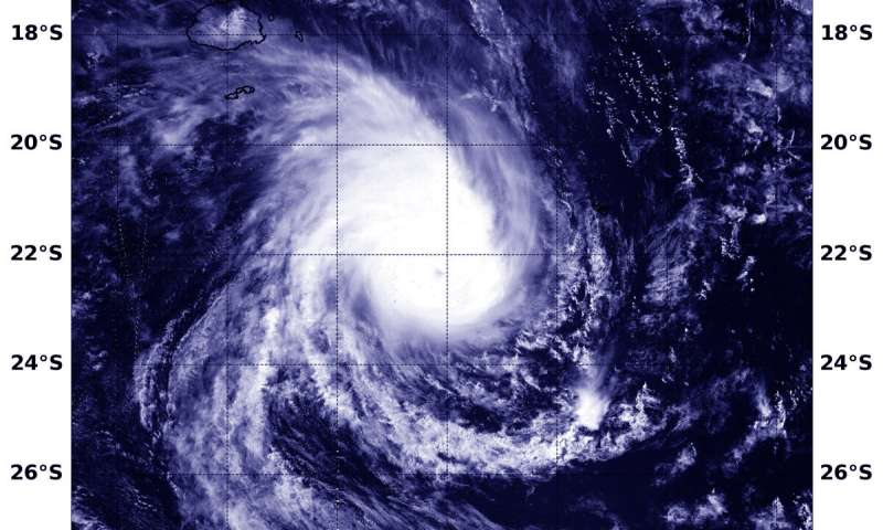 NASA finds a hint of an eye in Tropical Cyclone Pola