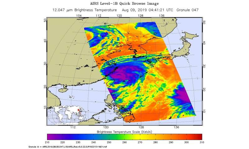 NASA gives Typhoon Lekima a twice-over with the Aqua satellite