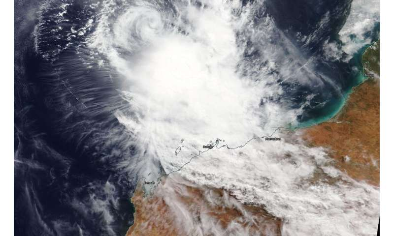 NASA imagery shows winds tearing Tropical Cyclone Wallace