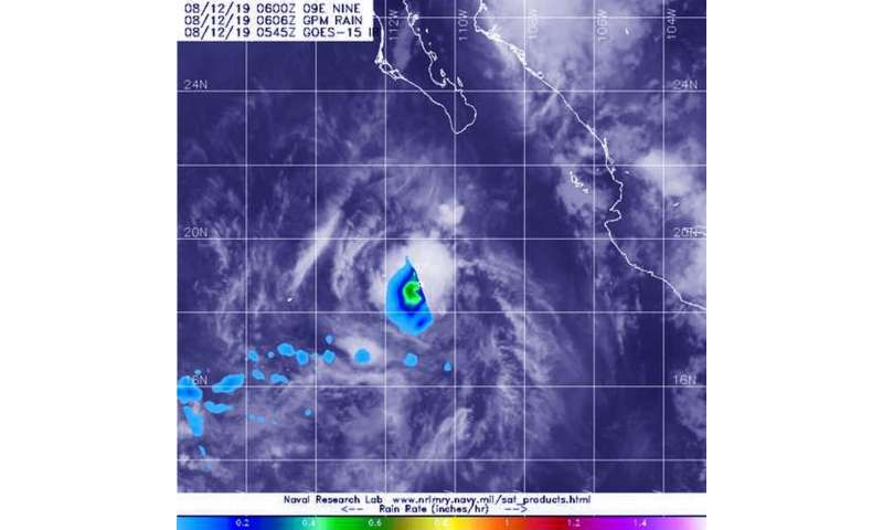 NASA measures rain rate in tiny Tropical Storm Henrietta