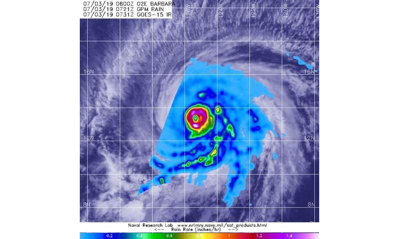 NASA peers into hurricane Barbara's heavy rainfall
