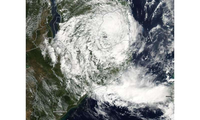 NASA sees remnants of Tropical Cyclone Kenneth over northern Mozambique