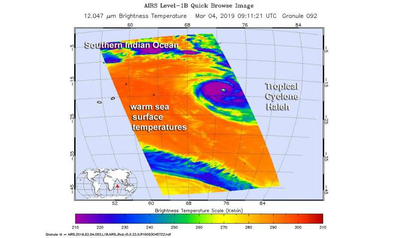 NASA's infrared vision reveals Tropical Cyclone Haleh's power