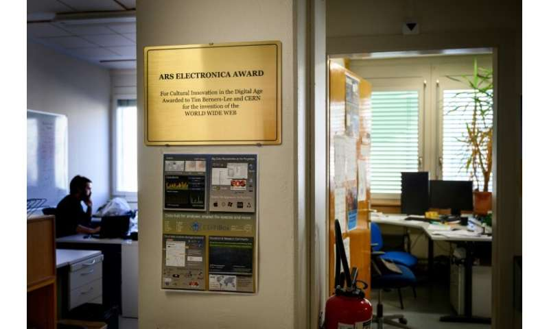Outside the former office of Tim Berners-Lee at CERN, Europe's physics lab near Geneva, is a simple plaque marking his invention
