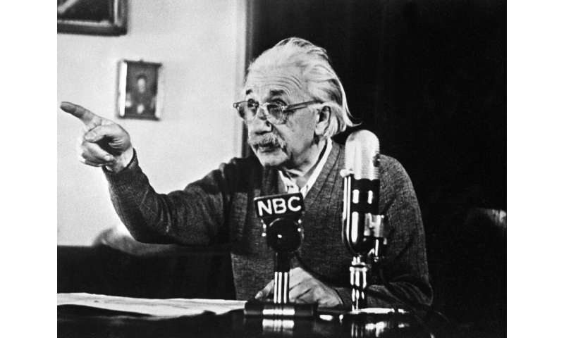 """Physicist Albert Einstein declared his opposition to the """"H"""" bomb and to the arms race between the US and USSR in 1950"""