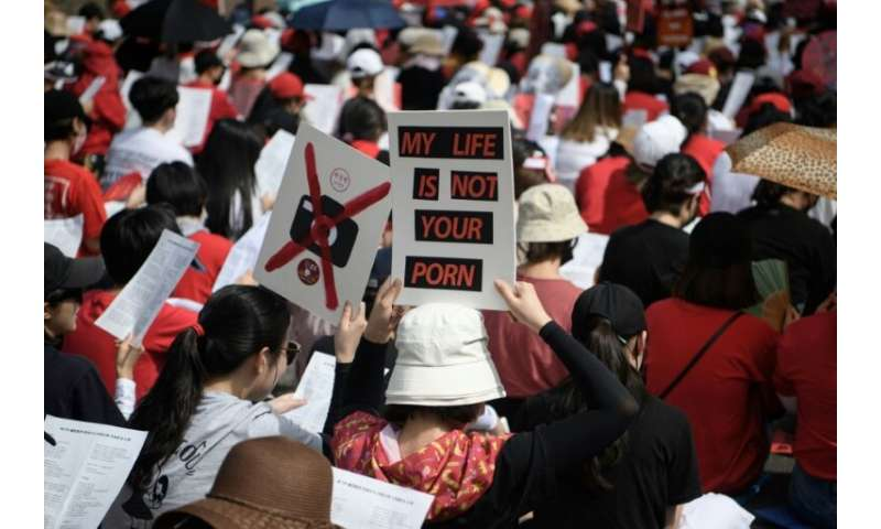 Protesters in South Korea have been calling for the government to crack down on widespread spycam porn crimes