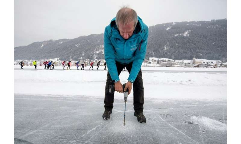 """""""Ice Master"""" Norbert Jank prepares the ice on the Weissensee lake for the two-week skating competition"""