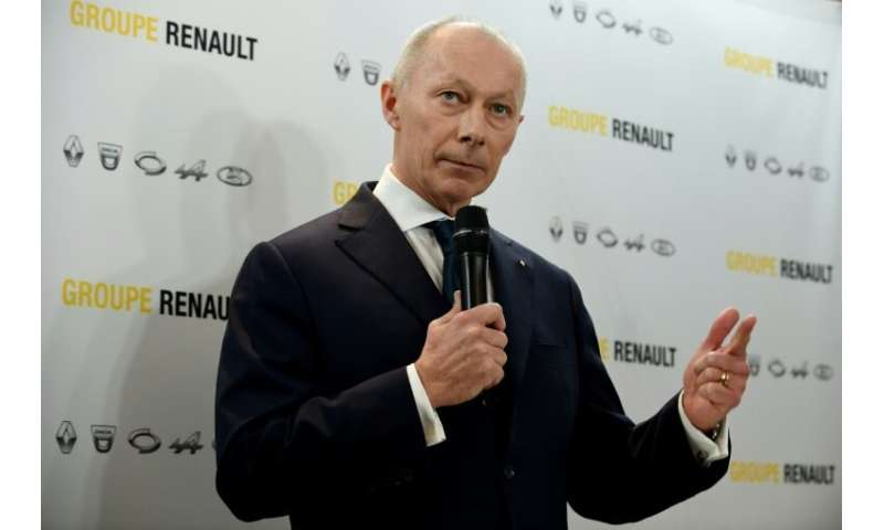 Renault's new chief executive Thierry Bollore presented the French carmaker's 2018 results at its headquarters outside Paris on