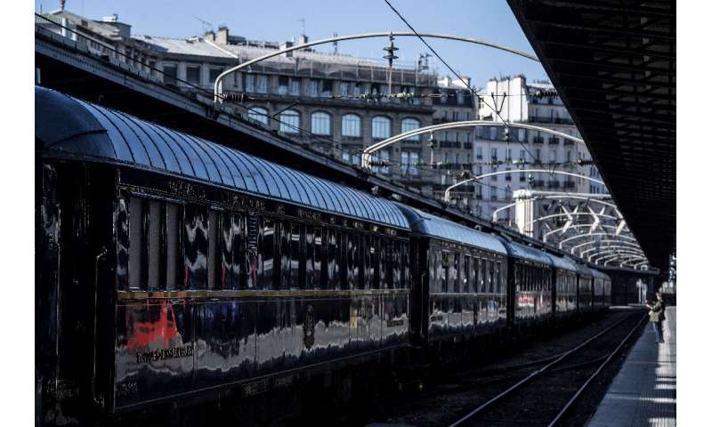 Restored Orient Express carriages on display at the Gare de l'Est train station in Paris