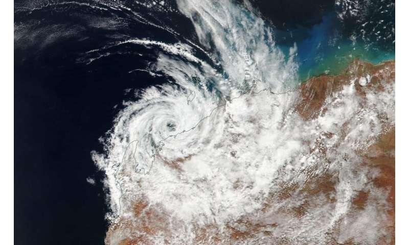 Satellite finds Tropical Cyclone Veronica's stripped center along Australia coast