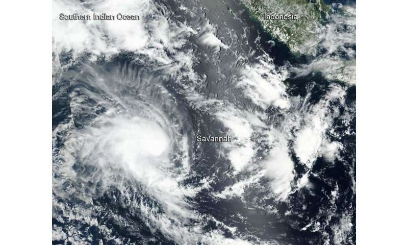 Satellite sees Tropical Cyclone Savannah moving away from Indonesia
