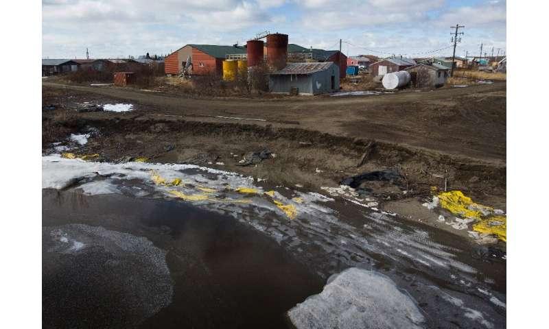 Severe erosion of the permafrost threatens the school in the village of Napakiak in Alaska