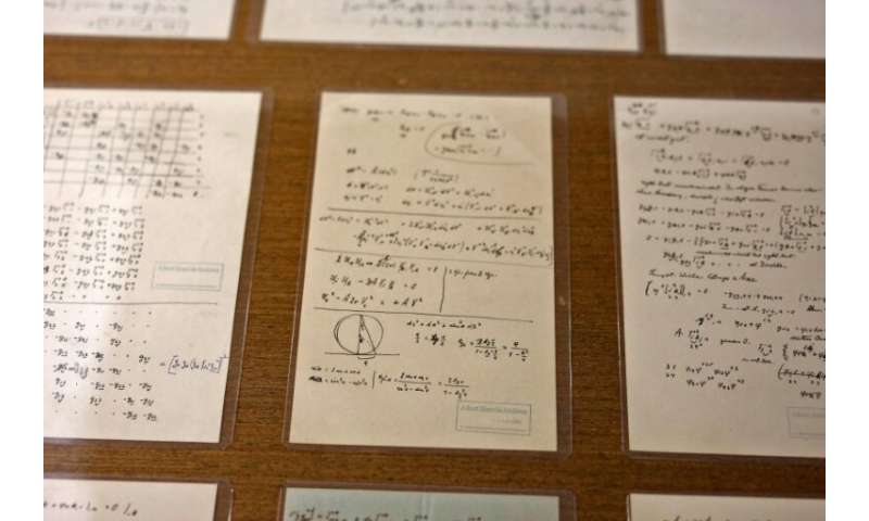 Some of Albert Einstein's manuscript pages on display at the Hebrew University of Jerusalem, in an exhibition to mark 140 years