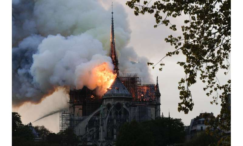Some of the hundreds of tonnes of lead in the spire and the roof of Paris' Notre Dame cathedral melted in the extreme heat from